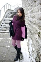 pink H&M tights - black Monton boots - purple Promod dress - black faux fur coat