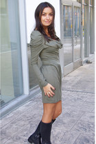 black Varese boots - dark khaki Vila dress