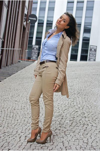 Camel Mango Coats, Camel Zara Jeans, Sky Blue H&M Shirts, Camel ...