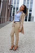 camel Mango coat - camel Zara jeans - sky blue H&M shirt - camel Zara heels - da