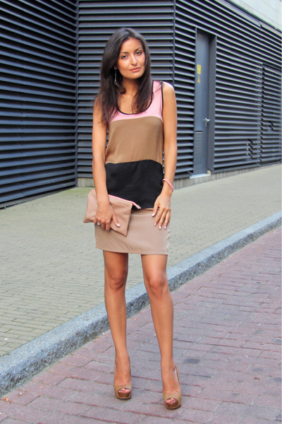camel Bershka pumps - nude Zara bag - light brown lindex top - tan Vila skirt