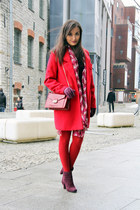 red Choies coat - purple Seppälä boots - maroon Charles & Keith bag