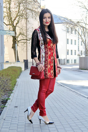 white multicolored Zara shoes - ruby red Mango bag - black lace Zara top