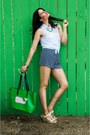 Green-lucky-b-boutique-purse-blue-lucky-b-boutique-shorts