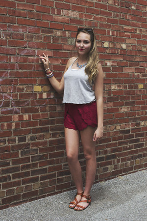 gray tank top LuckyB Boutique top - red lace shorts LuckyB Boutique shorts