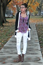 Forever 21 cardigan - faux leather boots - ruffled Forever 21 shirt