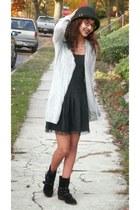 black American Eagle dress - silver thrifted cardigan
