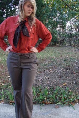 burnt orange silk vintage blouse - dark brown silk vintage scarf