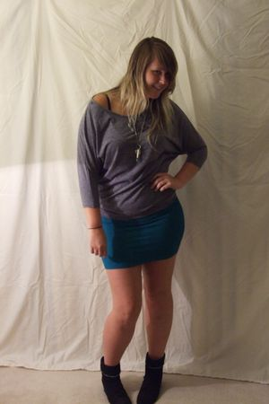 gray Pretty Good shirt - blue Luckiest Clothing skirt - black 8020 boots - silve