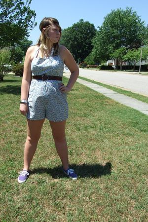 blue Luckiest Clothing dress - purple Vans shoes - brown JCrew belt - white vint