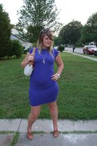 blue Luckiest Clothing dress - brown aerosols shoes - beige coach purse - brown
