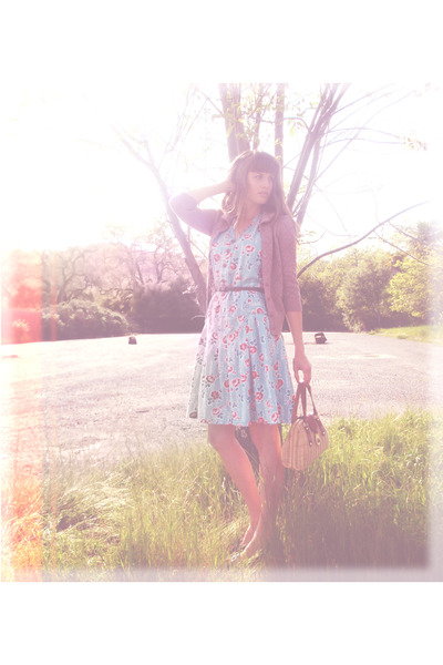 light blue thrifted dress - tawny Lucky Rabbit purse - pink Urban Outfitters car