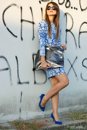 blue OASAP dress - silver AGL bag