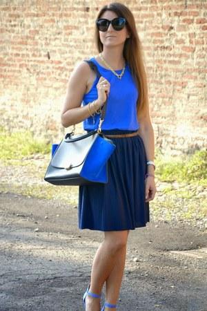 blue Celine bag - blue Zara blouse - navy H&M skirt