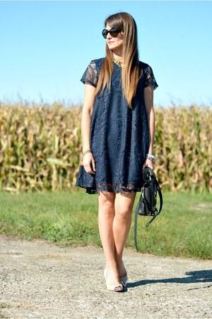 navy lace OASAP dress - black 31 Phillip Lim bag - black Cartier sunglasses