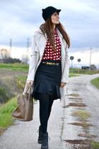 black chiffon Choies shirt - beige Elisabetta Franchi coat - black Zara hat