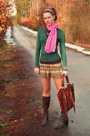 pink Orsay scarf - brown unknown boots - brown F&F bag - clockhouse cardigan