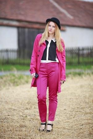 hot pink Jannis coat - hot pink Zara pants