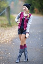 Forever 21 jacket - humanic boots - New Yorker shorts - Body Central necklace