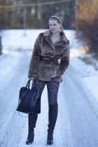 5th Avenue boots - faux fur Tally Weijl coat - New Yorker leggings - Zara bag