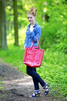 denim clockhouse shirt - denim Pimkie jeans - neon Italian Boutique bag
