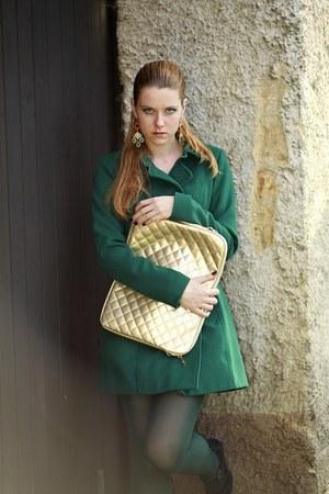 dark green Stradivarius coat