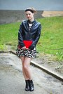 Black-bata-boots-black-and-white-h-m-dress-black-leather-pimkie-jacket-red