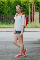 OASAP blouse - Eva and Tom bag - H&M shorts - F&F sneakers