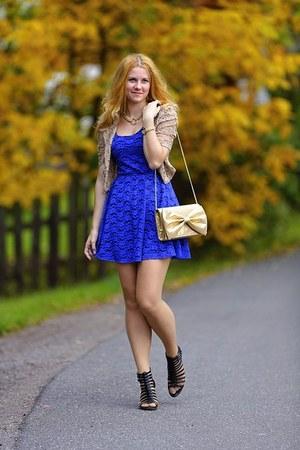 lace strawberry blazer - reno shoes - Charlotte Russe dress - H&M purse