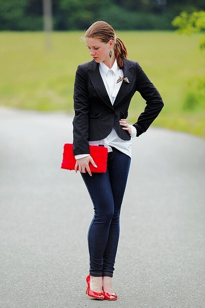 denim Pimkie leggings - black F&F blazer - white shirt - red H&M purse - red New