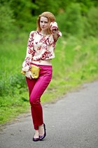 hot pink Zara pants - yellow Mimi Boutique bag