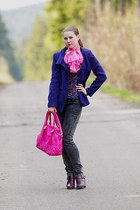 hot pink CCC bag - deep purple reno boots - navy F&F coat - reserved jeans