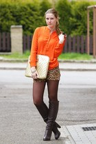 orange H&M shirt - dark brown 5th Avenue boots - dark brown Calzedonia tights