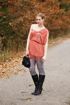 Tally Weijl necklace - humanic boots - lulus dress - New Yorker leggings