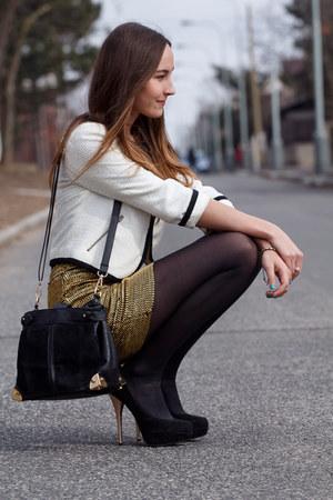 gold bechickcom skirt - white bechickcom blazer - black bechickcom heels