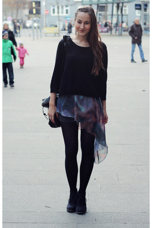 navy Romwecom dress - black H&M sweater - black H&M tights