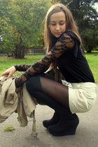 black H&M t-shirt - black Flercz t-shirt - beige H&M shorts - black H&M tights -