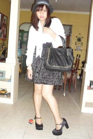 black satin Jellybean heels