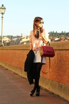 ruby red Fendi bag - bubble gum Zara shirt - white Zara skirt