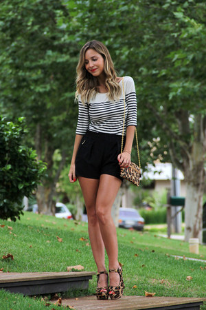 black Club Monaco top - black Zara shorts - dark brown Prada heels