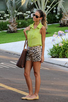 lime green Luisa Accorsi shirt - brown Etro bag - brown Tibi shorts