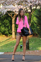 hot pink J Crew sweater - black Celine bag - black Louboutin heels