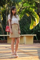 ivory LF top - red Hermes bag - ivory Christian Louboutin heels