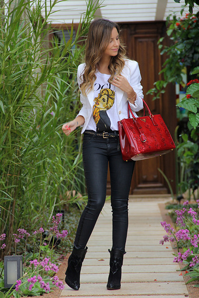 red Prada bag - black Zara boots - black rag & bone jeans