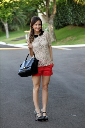 cream Zara blouse - black Celine bag - red Zara shorts - black Miu Miu heels