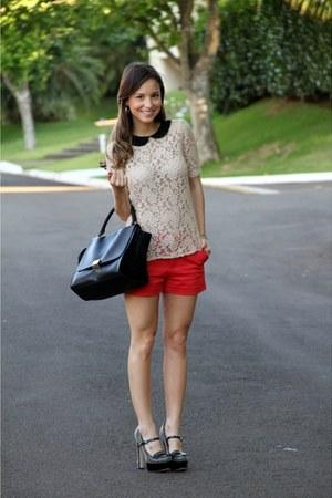 cream Zara blouse - black Celine bag - red Zara shorts - black Miu Miu heels