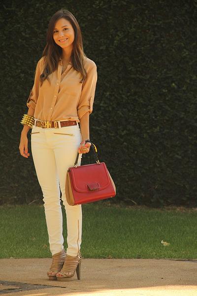 brown Moschino belt - nude madewell shirt - ruby red Fendi bag