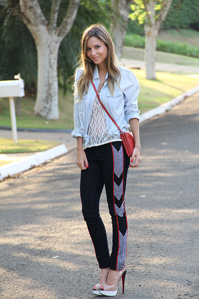 red Celine bag - black rag & bone jeans - nude Christian Louboutin heels