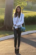 black Prada boots - black Zara leggings - white BoBo blazer