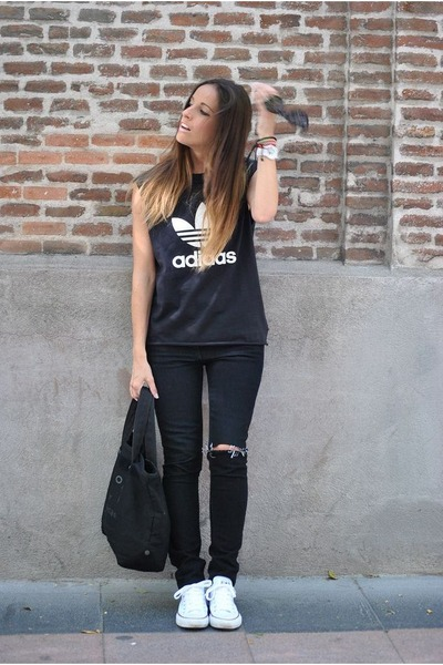 black Zara jeans - black Marc by Marc Jacobs bag - black Adidas t-shirt